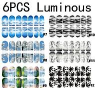 6x14 PCS Luminous Scenery Mixed Full Nail Stickers 7-12#