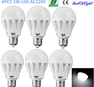 YouOKLight® 6PCS E27 5W 9*SMD5630 400LM 6400K Cool White Light LED Energy saving Globe Bulbs (AC 220V)