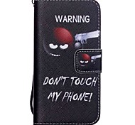 The New Do Not Touch My Phone Pattern Lanyard PU Leather Material Flip Card Cell Phone Case for iPhone 5 /5S