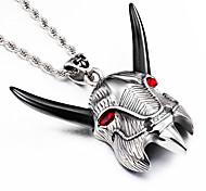 2016 New Black Resin long Horn 316L Stainless Steel Animal Goat Pendant 76cm Long Chain Necklaces For Men Boys