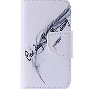 Black Feathers Painted PU Phone Case for iphone4/4S