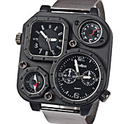Military Watches with Double - movt Two Small Decorating Hands Square and Steel Band for Men - BLACK