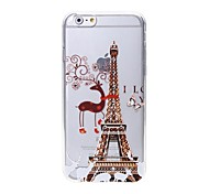 Latest Tower Deer Pattern Swarovski Diamond High Quality Laser Relief Touch Phone Case for iPhone 6plus / 6S plus
