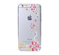 Latest  Six Flower Pattern Swarovski Diamond High Quality Laser Relief Touch Phone Case for iPhone 6/ 6S