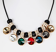 Fashion Seven Crystal Balls Multicolor Alloy Choker Necklace(Black,Multicolor)(1 Pc)