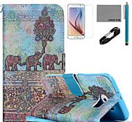 padrão de pintura de parede do elefante estojo de couro de coco fun® pu com cabo usb v8, flim, caneta e stand para Samsung Galaxy S6
