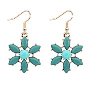 European And American Fashion Summer Style Retro Green + Red Flowers Earrings