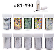 New 100Designs Nail Art Transfer Foil Paper 10pcs + 1pcs Nail Foil Glue (from #81 to #90)