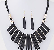 European Style Concise Fashion Wild Resin Tassel Necklace Earrings Set