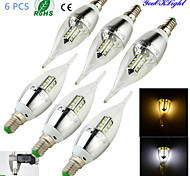 6PCS YouOKLight® E14 3W CRI=75 220lm 16-SMD2835 Warm White Light/ Cool White Light LED Candle Bulbs(AC85-265V)