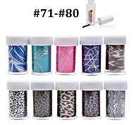 New 100Designs Nail Art Transfer Foil Paper 10pcs + 1pcs Nail Foil Glue (from #71 to #80)