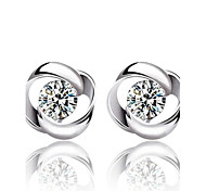 Lureme®  Korean Fashion Sweet 925  Sterling Silver  Circle Of Love Top Grade Earrings