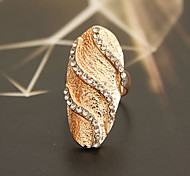 Fashion Crystals Raised Grain  Fingernail  Ring