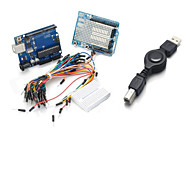 UNO R3+ Board + Expansion Board / Mini Bread Board + Jumper Cables Set for Arduino - Blue + Black