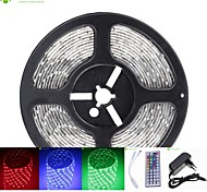 5M 75W 300x5050 SMD LED DC12V IP68 Waterproof Strip Light + 44Key Remote Control RGB + 12V 2A power AC100-240V