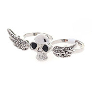 European Style Crystals Skull Wings Double Loop Ring