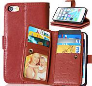 pu Funda de cuero Flip cubierta 9 titulares de la tarjeta monedero de lujo para el iphone 5 / 5s (colores surtidos)