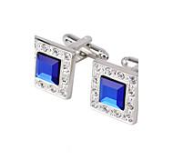Diamond Jewelry Brass, Glass Material, Square Cufflinks