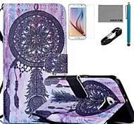 coco Fun® lila Traumfänger-Muster PU-Lederetui mit V8-USB-Kabel, flim, Stift und stehen für Samsung Galaxy S6