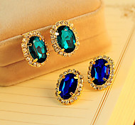 Women's Fashion New Fashion Gorgeous Gem Rhinestone Stud Earrings