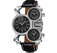 Large Dial Men's Fashion Personality Casual Leather Belt Movement Three Time Zones Watch Wrist Watch Cool Watch Unique Watch