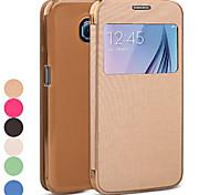Teléfono Móvil Samsung - Carcasas de Cuerpo Completo - Color Sólido - para Samsung Samsung Galaxy S6 (Negro/Blanco/Verde/Azul/Rosa/Dorado , Cuero PU