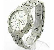 brand ROSRA Watches Silver Tone Alloy Steel Men's Wristwatch Fashion Analog Casual Quartz Sports Boy's Watch