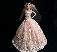Barbie Doll - Abiti - Matrimonio - di Organza / Pizzo - Rosa - Abiti