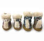 Dog Socks & Boots - XS / S / M / L / XL - Winter - Blue / Brown / Pink / Multicolored - Keep Warm / Fashion - PU Leather / Polar Fleece
