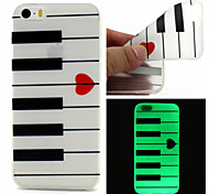 For iPhone 5 Case Glow in the Dark Case Back Cover Case Lines / Waves Soft TPU iPhone SE/5s/5