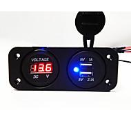 Panel voltímetro 2 hoyos y de doble socket usb cargador de coche