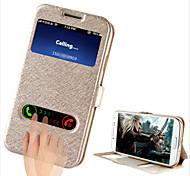 Para Funda Samsung Galaxy con Soporte / con Ventana / Flip Funda Cuerpo Entero Funda Un Color Cuero Sintético Samsung S4