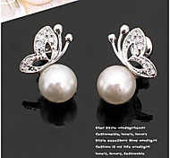 New Arrival Fashional Rhinestone Butterfly Pearl Earrings