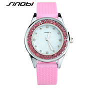 SINOBI® Girls Fashion Colorful Wristwatches Ladies Rose Red Silicone Diamond Quartz Watch Women Waterproof Watches Montre Cool Watches Unique Watches