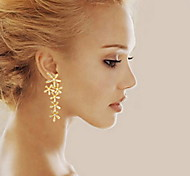 Exquisite Diamond Electroplating Ms Gold Leaf Snowflake Earrings Wedding Jewelry