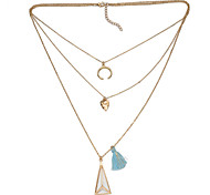 High Quality Natural Gem Stone with Tissue Pendnat mulitilayer Layered Chain Necklace Jewelry(Gold/Silver)