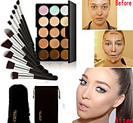 Concealer Palette 15 Colors Contour Face Cream & 10PC Set Powder Brush
