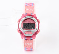 Fashion Pink Nylon With Female Children's Electronic Watch