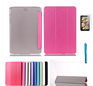 Triple Folding Intelligent Flip PU Case for Galaxy Tab Pro 8.4/Tab A 9.7/S 10.5/S 8.4/4 10.1/S2 9.7/E 9.6+Film + Stylus