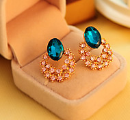 Women's Trendy Cute Hollow Sea Blue Crystal Flowers Stud Earrings