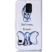 twee dumbo patroon pu leer geschilderd telefoon geval voor Galaxy S3 / S4 / S5 / s6 / s6edge / s3 mini / mini s4 / s5 mini