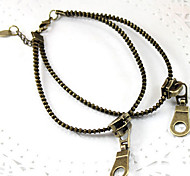 Vintage Style Retro Double Zipper Chain Alloy Anklet