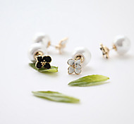 Women's Fashion Double Side Pearl Alloy Flowers Stud Earrings