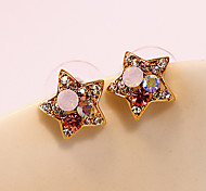 Women's Fashion Colorful Rhinestone Pentagram Crystal Earrings