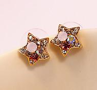 Women's Fashion Colorful Rhinestone Pentagram Crystal Earrings