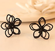 Hand-woven Hollow-Out Lotus Flowers Stud Earrings