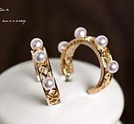 Korea Retro Palace Pearl Hoop Earrings