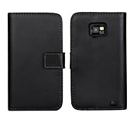 Genuine Leather Wallet Flip Case with Card Slot and Stand Case for Samsung Galaxy S2 i9100 (Assorted Colors)
