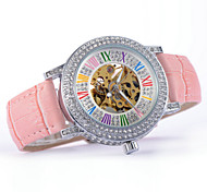 Women's Hollow Colorized Scale Full Automatic Round Dial Leather Band Machine Analog Wrist Watch(Assorted Color) Cool Watches Unique Watches