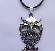 Men Fashion Stainless Steel Owl Pendant Necklace